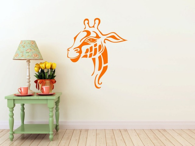 giraffe head wall decal animal interior removable wall stickers for