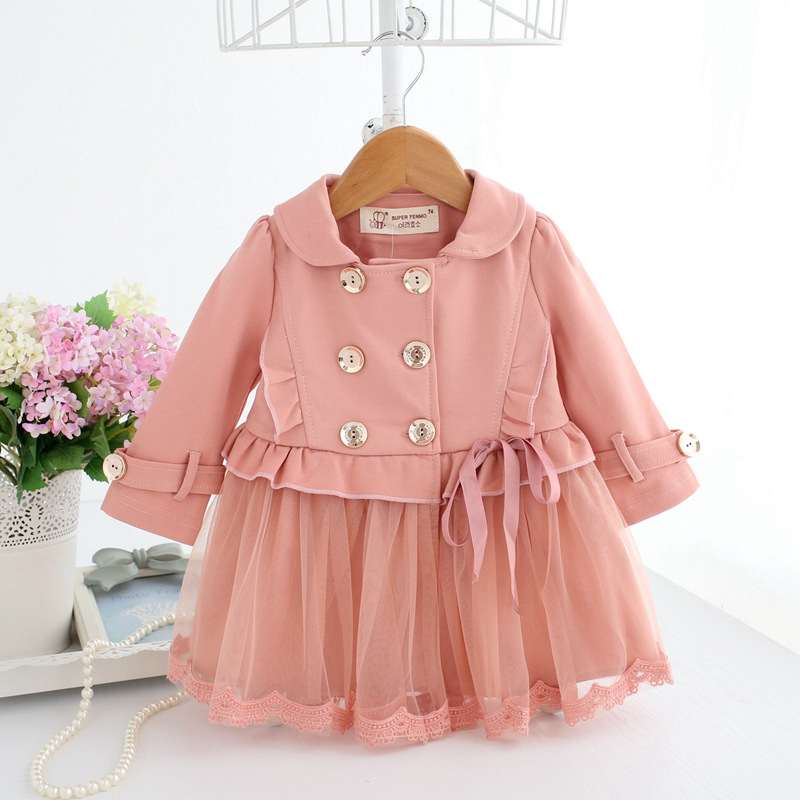 Baby Dresses Pink Princess Girl Tulle Dress Long Sleeve Winter Clothes Ruffle Double-Breasted Coat A014 Infant Baby Girl Outfits stylish lapel long sleeve double breasted plus size coat for women