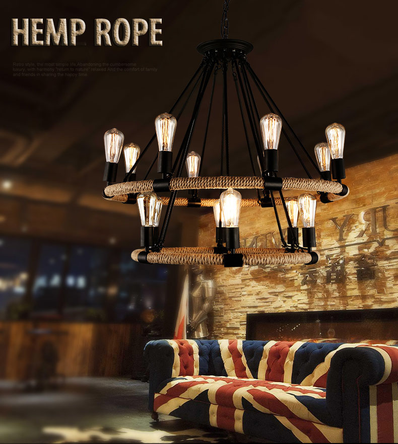 American country Style Wrought Retro Iron Hemp rope Pendant Light round shape iron hanging lamps Suspension for Cafe restaurant