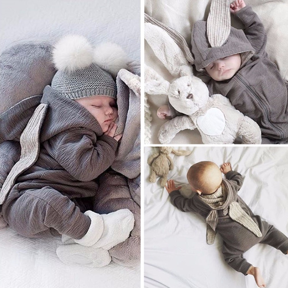 Puseky 2018 Newborn Infant Baby Girl Boy Clothes Cute 3D Bunny Ear   Romper   Jumpsuit Playsuit Autumn Winter Warm Bebes   Rompers