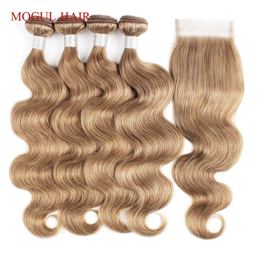 MOGUL HAIR Body Wave Bundles With Closure Color 8 Ash Blonde Pre Colored Brazilian Remy Human