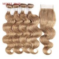 MOGUL волосы для тела волнистые пучки с закрытием цвет 8 пепел блонд предварительно цветные бразильские Remy человеческие волосы для наращивани