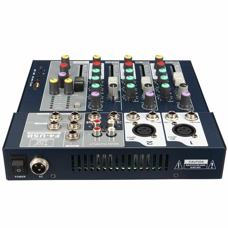 LEORY Mini 4 канала DJ микшер контроллер со встроенным усилителем металлический DJ Mezclador USB консоль DJ для аудио караоке