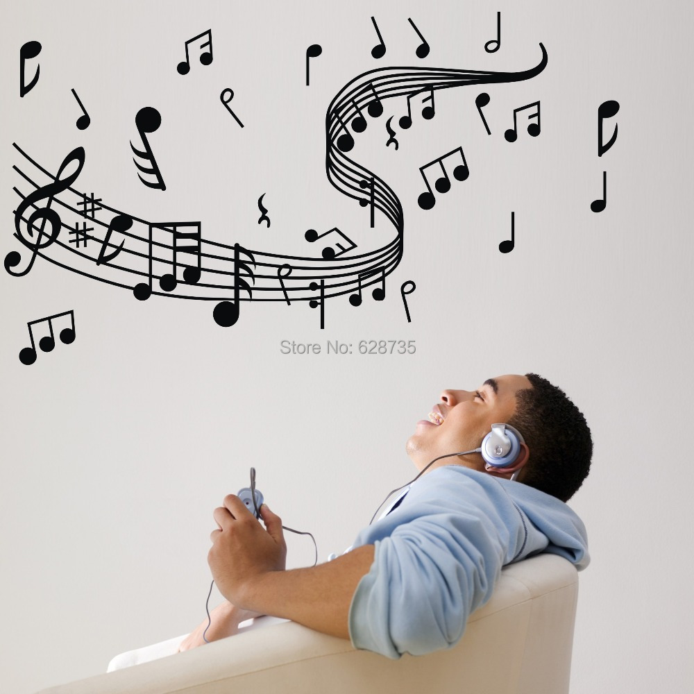 music wall sticker promotion shop for promotional music wall music note wall stickers vinyl wall stickers home decor music musical home decoration free shipping w10062
