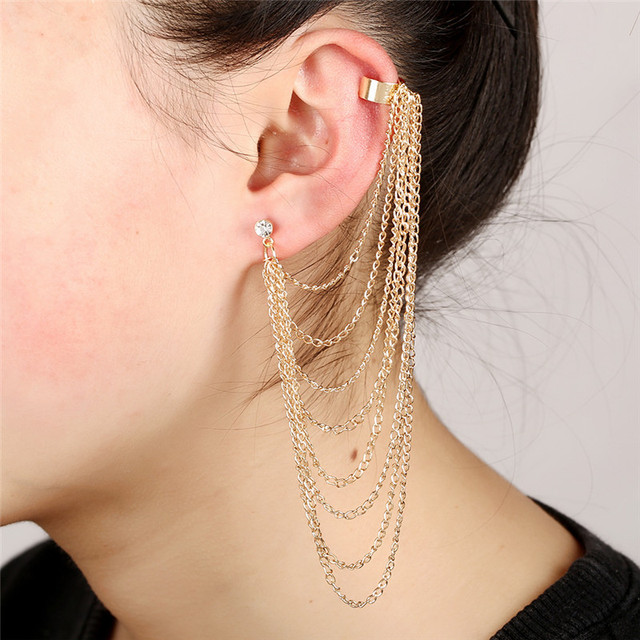 Long Tel Earrings For Women Punk Ear Cuff Jewelry Gold Color Crystal Inlaid Multilayer Chain Fringe