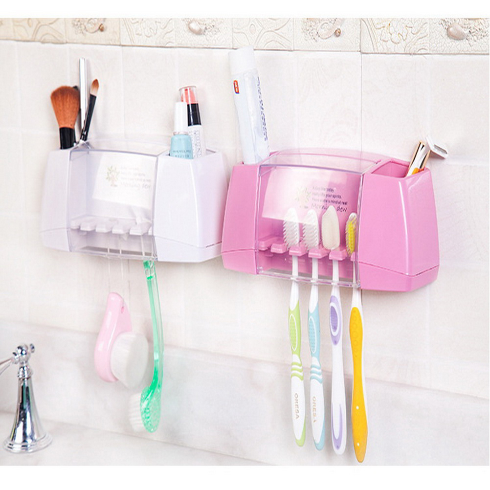 Accessories:  1Pc Multifunctional Toothbrush Racket Holder Storage Box Bathroom Makeup Accessories Products Sets Suction Hooks - Martin's & Co