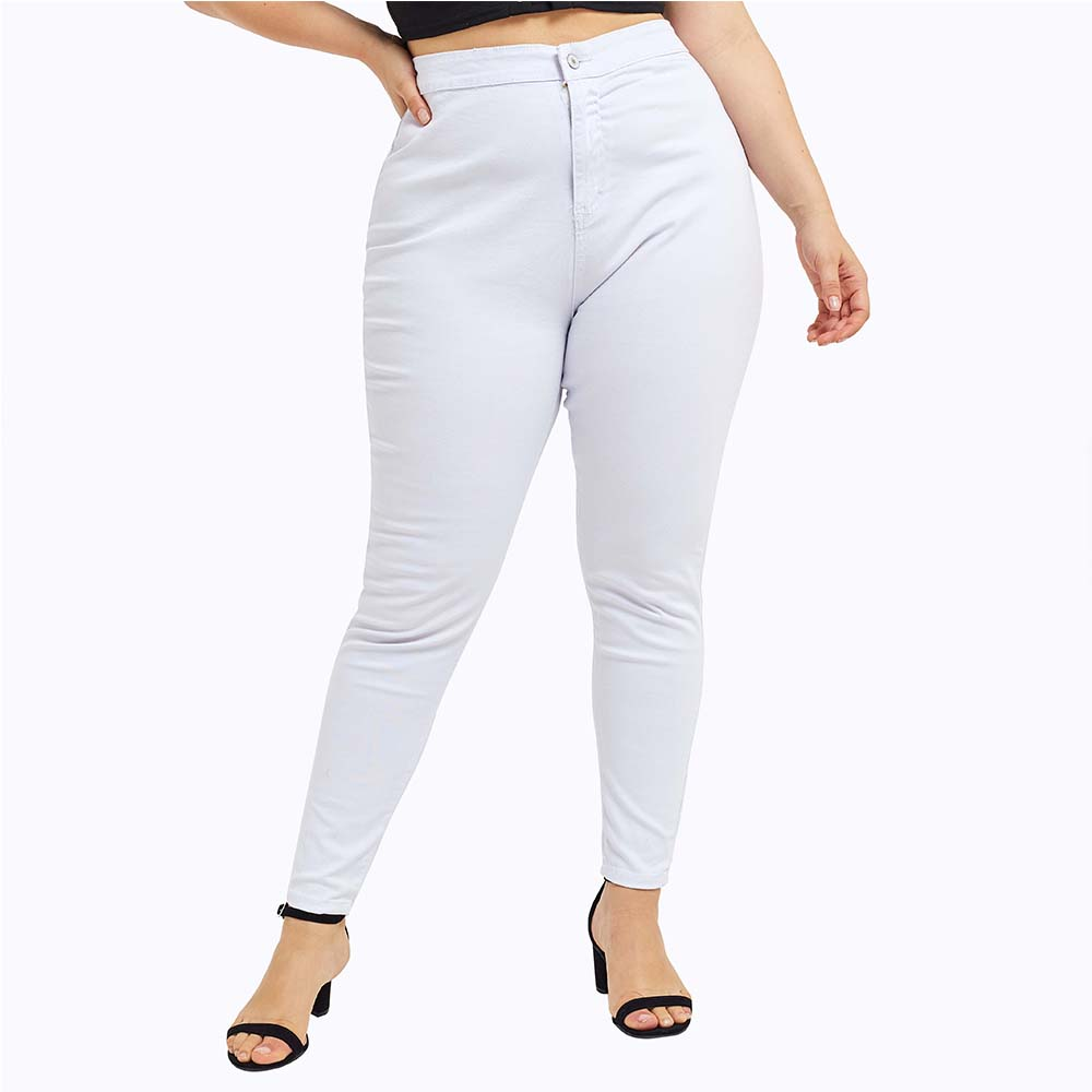 Women   Jeans   Plus Size Fashion Button High Waist   Jeans   Streetwear Casual Laides White Skinny   Jeans   Large Size   jean   femme 5XL D40