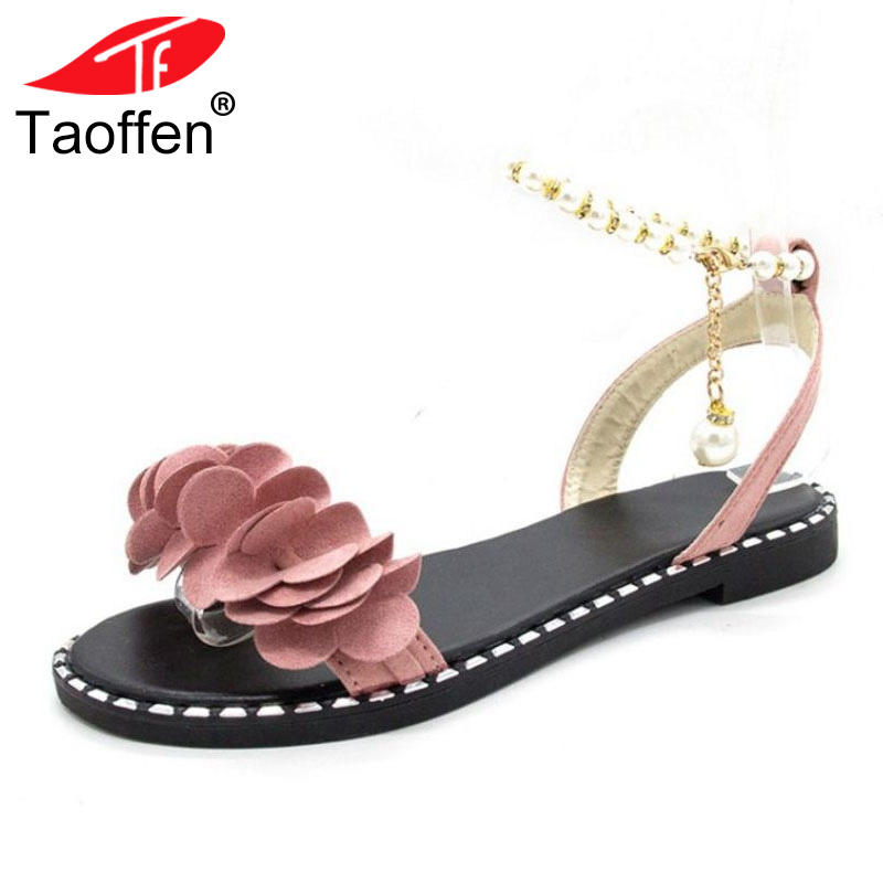 TAOFFEN Women Sweet Flower Flats Sandals Beading Chain Bowknot Flats Sandals Summer Vacation Shoes Women Footwear Size 35-39 sweet women s sandals with color block and flower design