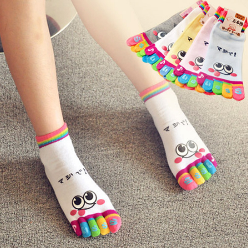 EUR34-37 Hot Sale Children Girl Smile Face Cute Funny Five Fingers Trainer Rainbow Color Toe Ankle Little Socks