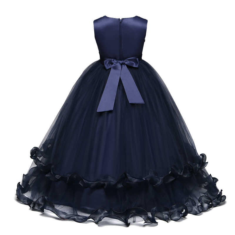 ילדים פורמליות שמלות לחתונה שמלה בני נוער לרקום מסיבת ארוך שמלת ילדה תלבושות 6 7 8 9 10 12 14Yrs Vestido לונגו