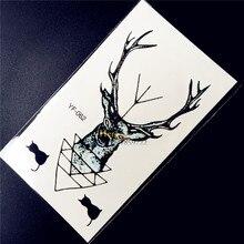 Deer Designs Waterproof Temporary Tattoo Sticker Women Body Arm Tatoo HYF062 Elk Horn Reindeer tattoo bucks antlers flash tattoo