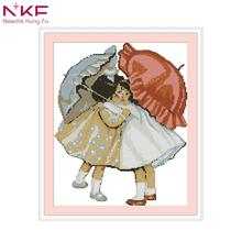 NKF 2018 New Arrival Umbrella girl printed unprinted cloth DMC 11CT 14CT  DIY Handmade Cross Stitch Kits Home ddecor Gift