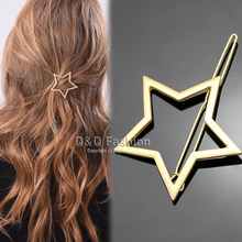 Blogger Gold Shooting Star Cut Out Hair Pin Clip Dress Snap Barrette Hen Party Jewelry 2018 New(China)