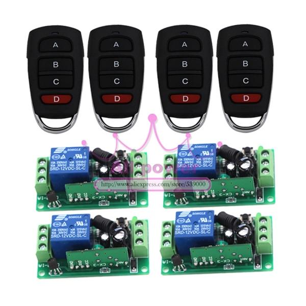 DC12V mini size remote control Switch, Remote Switch 12V 1CH Radio Digital Switch RF 4 Transmitters 4 Receivers radio remote control switch dc12v 4ch