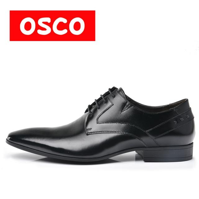 OSCO Fashion Men Shoes Genuine Leather Men Dress Shoes Men's Business Oxford Gentleman Shoes Man #RU0004