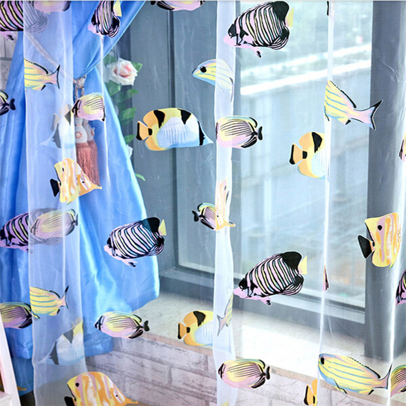Favorite JRD Kids Cartoon Fish Blackout Tulle Curtain Colorful Blue Ocean  JP64