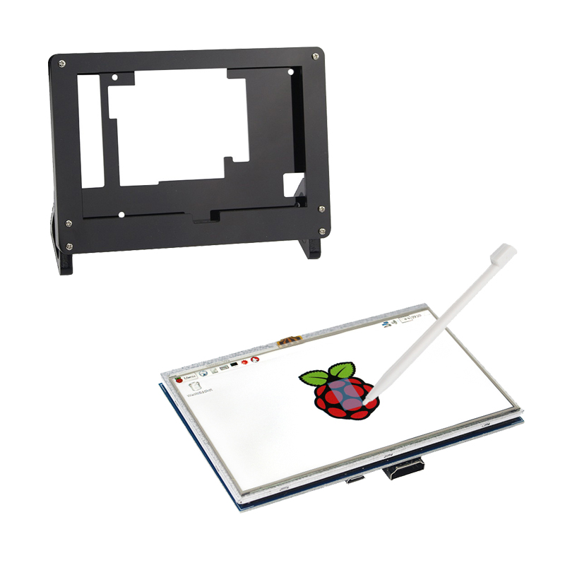 5 Inch Raspberry Pi 3 Model B+ LCD Touch Screen 800x480 TFT LCD Display with Acrylic Case Black White Bracket for Raspberry Pi 3 спортинвентарь nike чехол для iphone 6 на руку nike vapor flash arm band 2 0 n rn 50 078 os