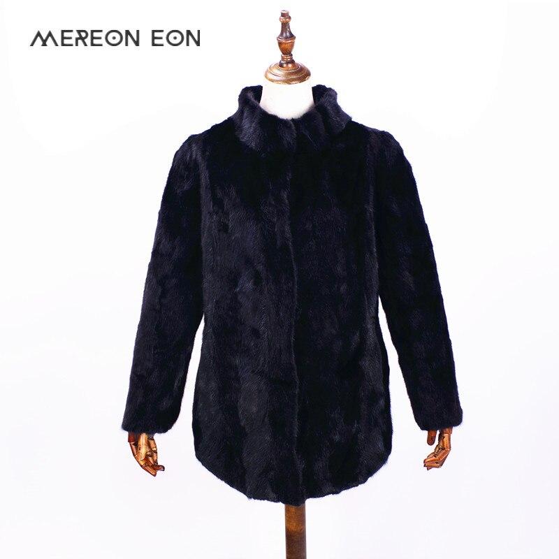 2018 Russe nouveau réel naturel couture fourrure de vison manteau à manches longues dames de fourrure de vison manteau col veste col veste en cuir la sueur