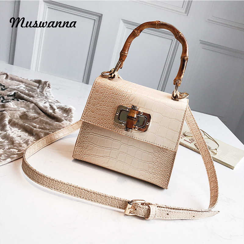 Luxury Crocodile Women Handbag Bamboo Top Handle Bags Designer Crossbody Bag Casual Small Flap Bag Purse Bolso Femenino 2019