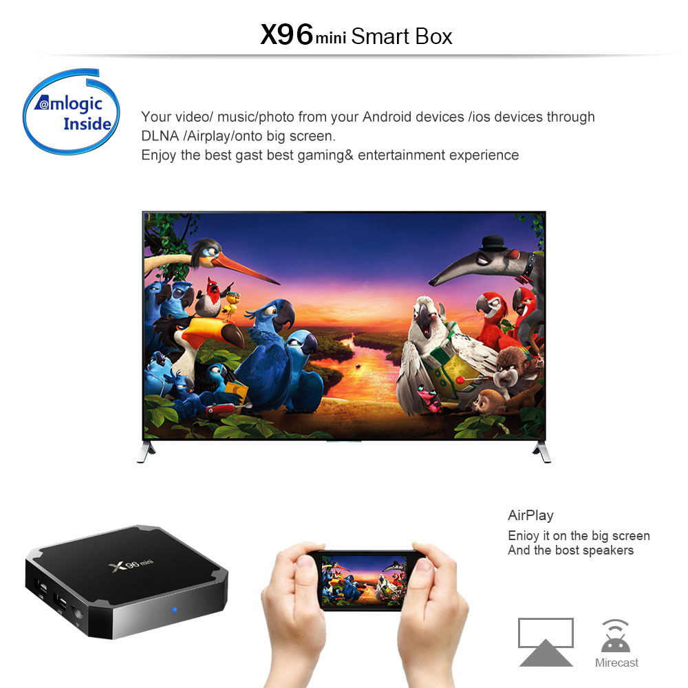 Original X96mini Android 7.1 X96 mini Smart TV BOX 4K*2K Quad Core Amlogic S905W Support 2.4WIFI+IR Cable
