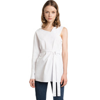 White Asymmetric Sleeve Tops For Women Stylish Waist Tie Irregular Shirts Ladies Summer Chic Sexy Designed