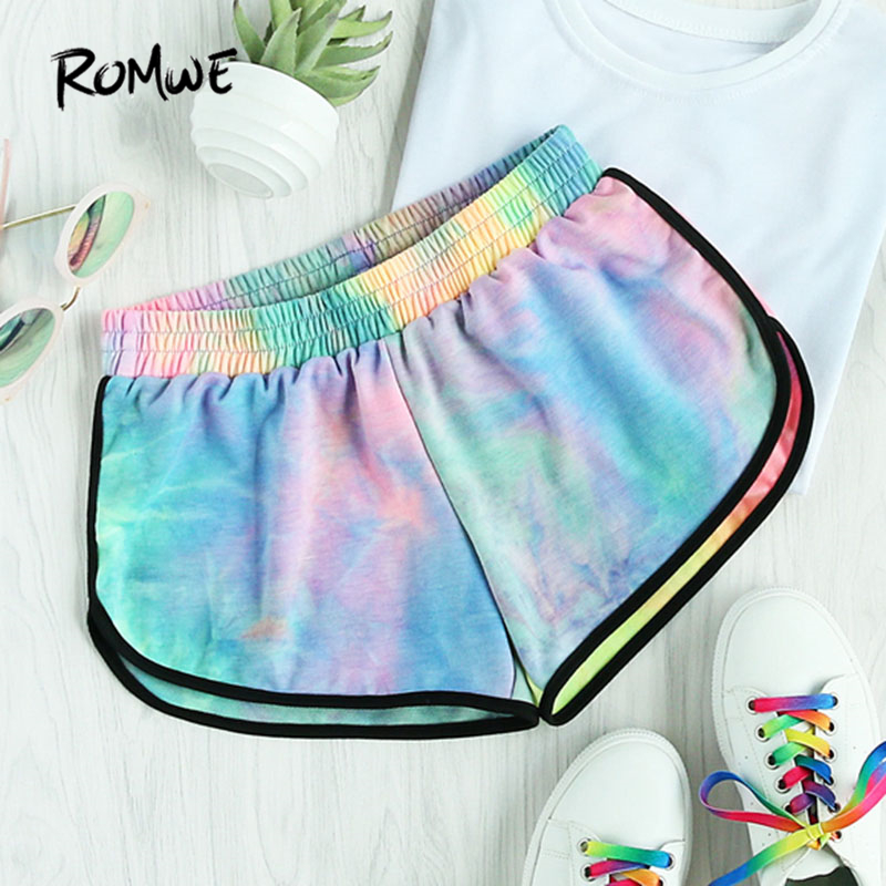 ROMWE Water Color Shirred Waist   Shorts   Women Multicolor Tie Dye Casual   Shorts   2019 Fashion Mid Waist Loose Summer   Shorts