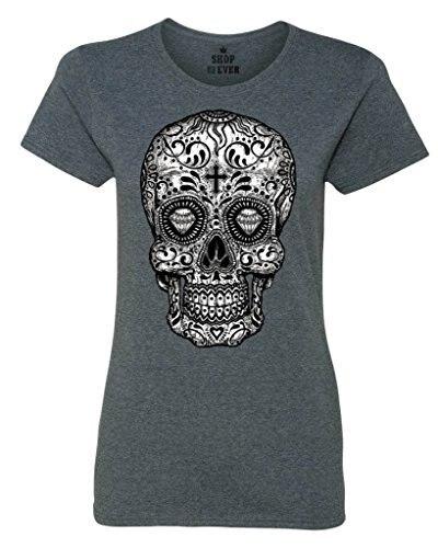 Сахарный Череп Черный и Белый женская Футболка День мертвых Рубашки