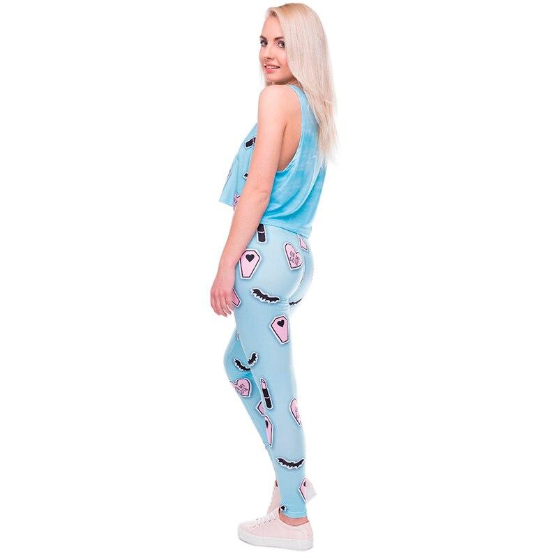 b17b1c3cd1241 2017 Light Blue Pink Leggings 3d LipstickPrinted Streched Fabric Leggins  Women Funny Basic Casual Adventure Time Leggings Female-in Leggings from  Women's ...