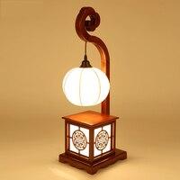 Краткий китайский Стиль настольная лампа твердой древесины Спальня исследование лампы светодиодные ресторан Чайхана лампа Спальня прикро