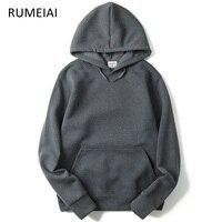 RUMEIAI 2018 New Brand Hoodie Streetwear Cotton Hip Hop Solid Pink Black Gray Skateboard Hooded Hoody