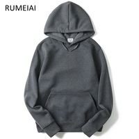 RUMEIAI 2018 New Brand Hoodie Streetwear Cotton Hip Hop Solid Pink Black Gray Skateboard Hooded Hoody
