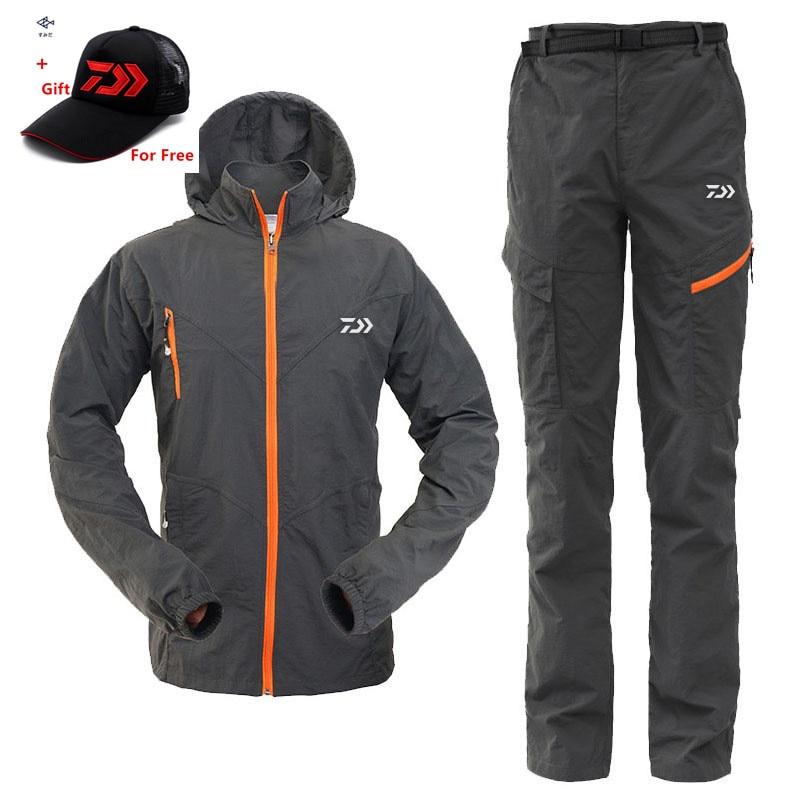 New Daiwa Men Fishing Clothes Coat Pants Summer Outdoors Sports Man Uv Light Ultrathin Breathable Clothing