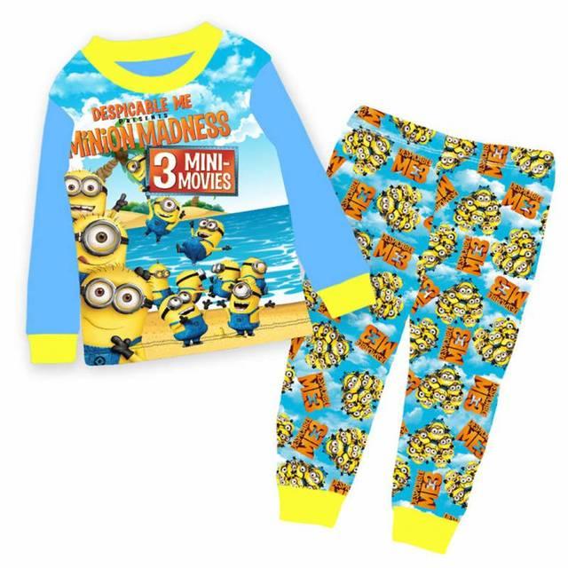 62538a77d53f Оптовая продажа 2017 Обувь для мальчиков синий Миньоны пижамы Детская Пижама  с героями мультфильмов детская Демисезонный