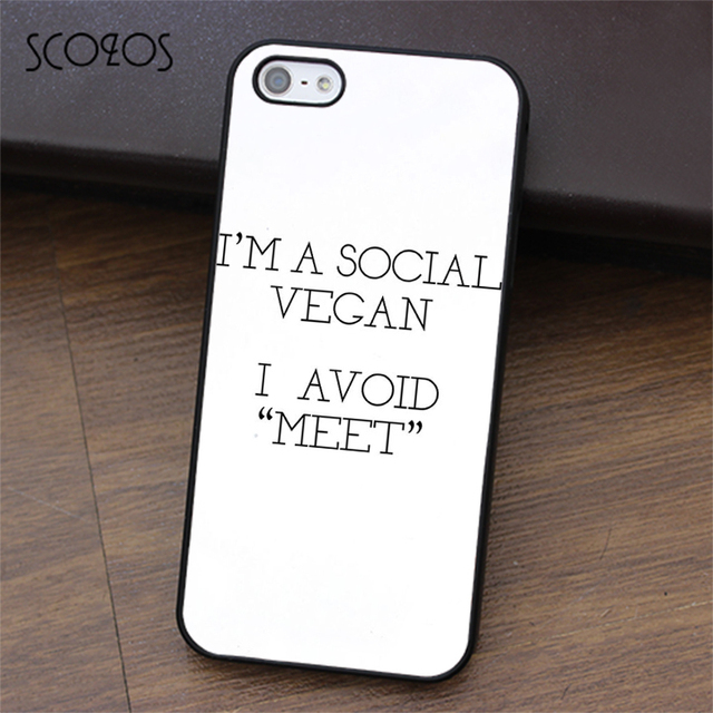 new product d077c 336f7 US $4.99 |SCOZOS Social Vegan No Meet Hipster Tumblr phone case for iphone  X 4 4s 5 5s Se 5C 6 6s 7 8 6&6s plus 7 plus 8 plus #ea327-in Fitted Cases  ...