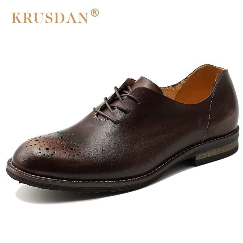 KRUSDAN New Arrival Breathable Man Brogue Shoes Genuine Leather Handmade Oxfords Vintage Round Toe Formal Dress Men's Flats NK20  ruimosi new arrival formal man bridal dress flats shoes genuine leather male oxfords brand round toe derby men s footwear vk94