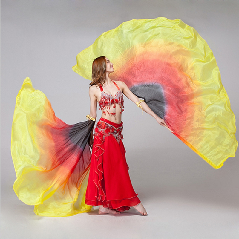 Rational 2017 New Performance Dancewear Dance Props1 Pair Half Moon Silk Veil Rainbow Belly Dance Wings 100% Silk Veils Meticulous Dyeing Processes Belly Dancing