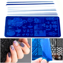 1 Sheets Nails Stencil 40 Styles 6x12cm Flower/Heart-shape Rectangle Nail Stamping Plate Art Template Tools #32.46g