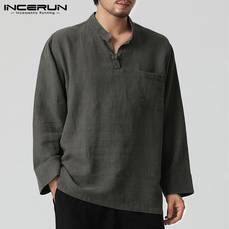 INCERUN L-5XL Cotton Linen Shirt Men V-neck Long Sleeve Vintage Tops Autumn Casual Camisa Masculina Chinese Style Male Shirts