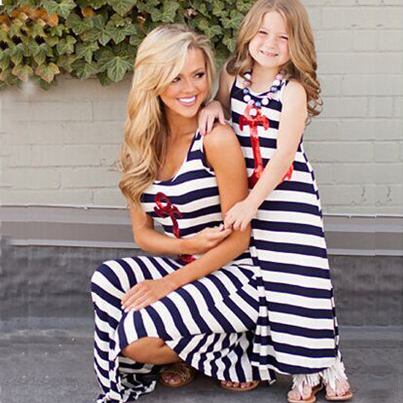 Mommy And Me Dresses Mother And Daughter Dress Summer Mama Mom And Baby Girls Matching Clothes Kids Sleeveless Maxi Long Dress