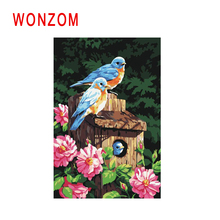 WONZOM Bird Family Painting By Number Abstract Cage Oil Animal Cuadros Decoracion Acrylic Paint On Canvas Modern Art