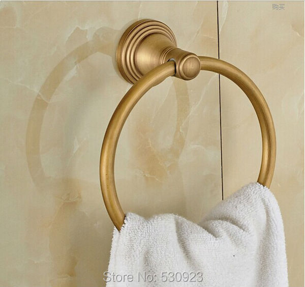 Newly US Free Shipping Wholesale And Retail Vintage Antique Brass Bathroom Towel Ring Round Towel Rack