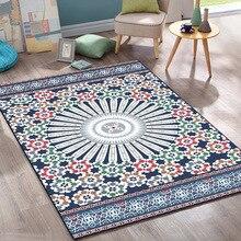 European American style blue geometric round flower livingroom carpet Bedroom crystal velvet rug non-slip door mat customize