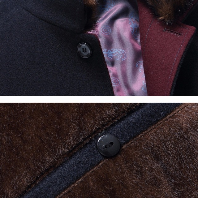 Holyrising Casaco Masculino Abrigo Wool Coats Thicken Men Woolen Coat Warm Overcoat Fur Collar Jackets Plus Size M-6XL 18439-5