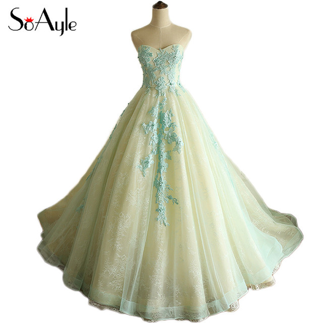 SoAyle Ball Gown Sweetheart Prom Dresses 2017 Lace Beading Vestidos ...