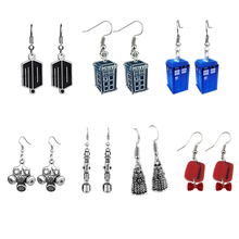 Doctor who earrings Who Blue Tardis with Stainless Steel Hook Dangle Earrings Gift For Women