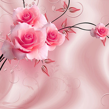 Luxury Rose 3D Wall-Mural
