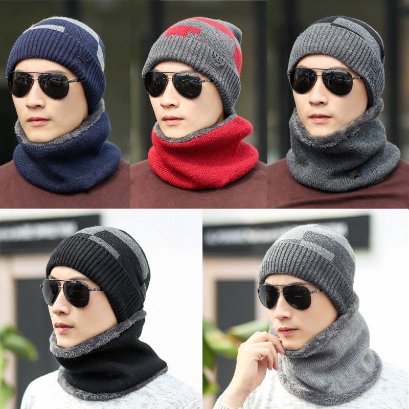 Fashion Winter Hats Scarf For Women Men Thick Cotton Winter Accessories Set Female Male Beanie Scarf  2 Pieces/Set