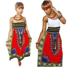 Dos maneras usan las mujeres dashikis impreso boho dress for girls sexy fuera del hombro vestidos novedad de la manera de las señoras vestidos africanos