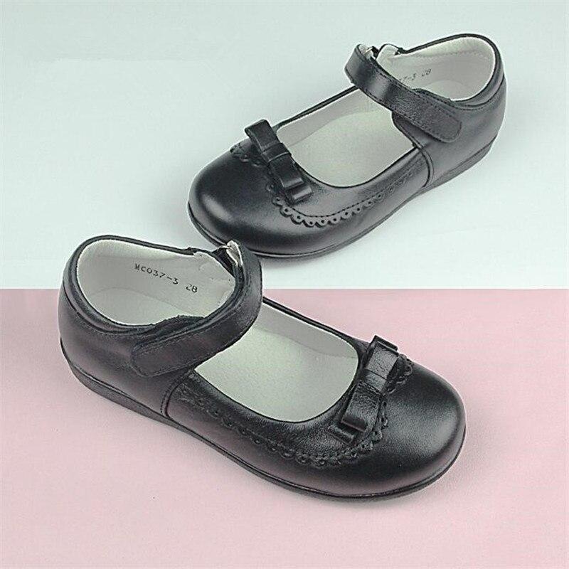 Genuine Leather Children School Uniform Shoes Girls Dress Shoes bowtie Black Leather shoes Pretty Comfortable For Kid Girls Shoe велосипед kross kid pretty 16 2015