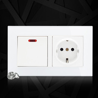 Crystal Glass Panel 146 German Standard 20A Wall Socket + 1 Gang 1 Way Push Button Light Switch With LED Indicator
